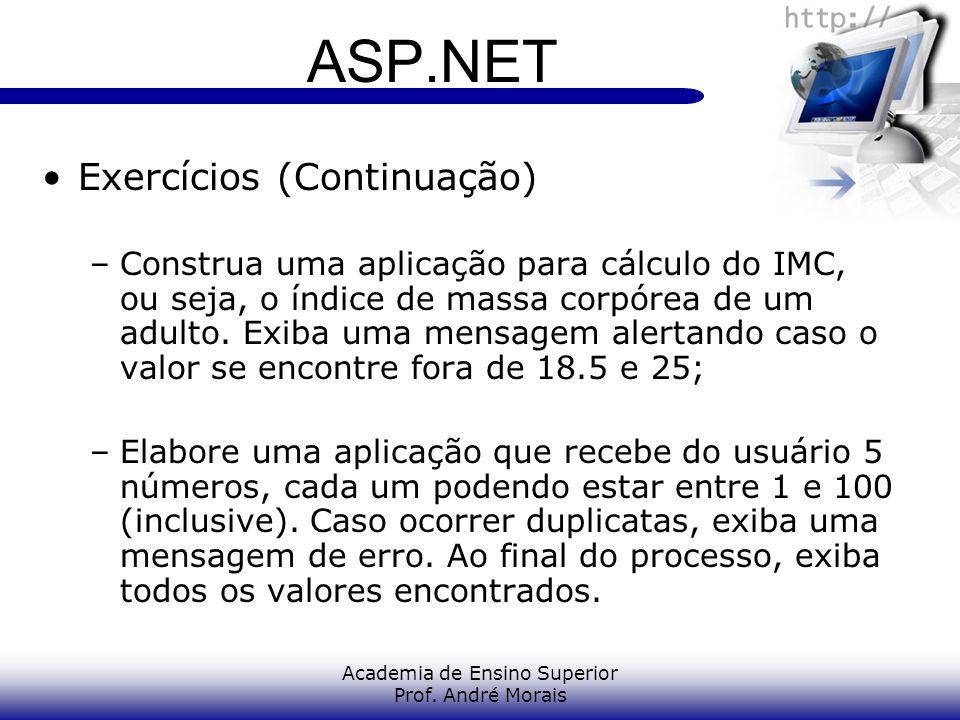 Academia de Ensino Superior Prof. André Morais ASP.NET Exercícios (Continuação) –Construa uma aplicação para cálculo do IMC, ou seja, o índice de mass
