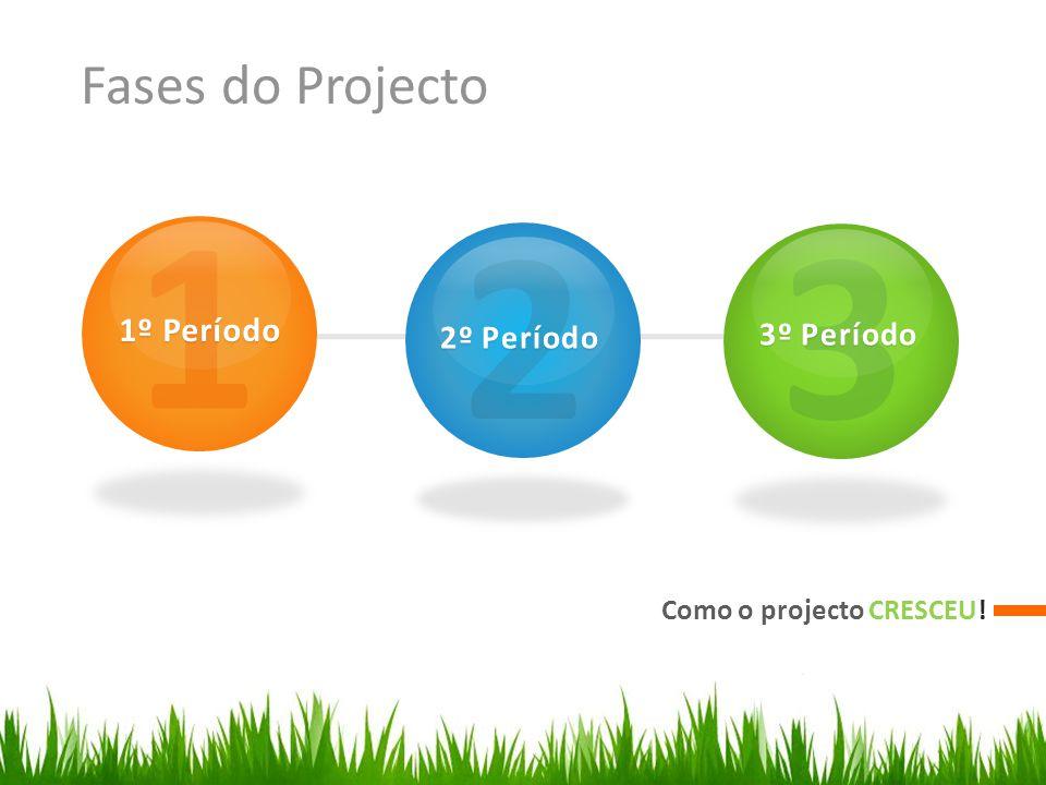 Fases do Projecto Como o projecto CRESCEU! 1 1º Período 2 2º Período 3 3º Período 3º Período