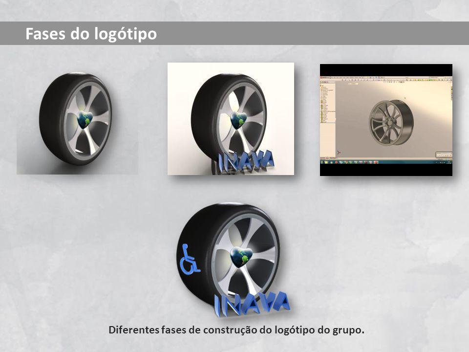 Diferentes fases de construção do logótipo do grupo. Fases do logótipo