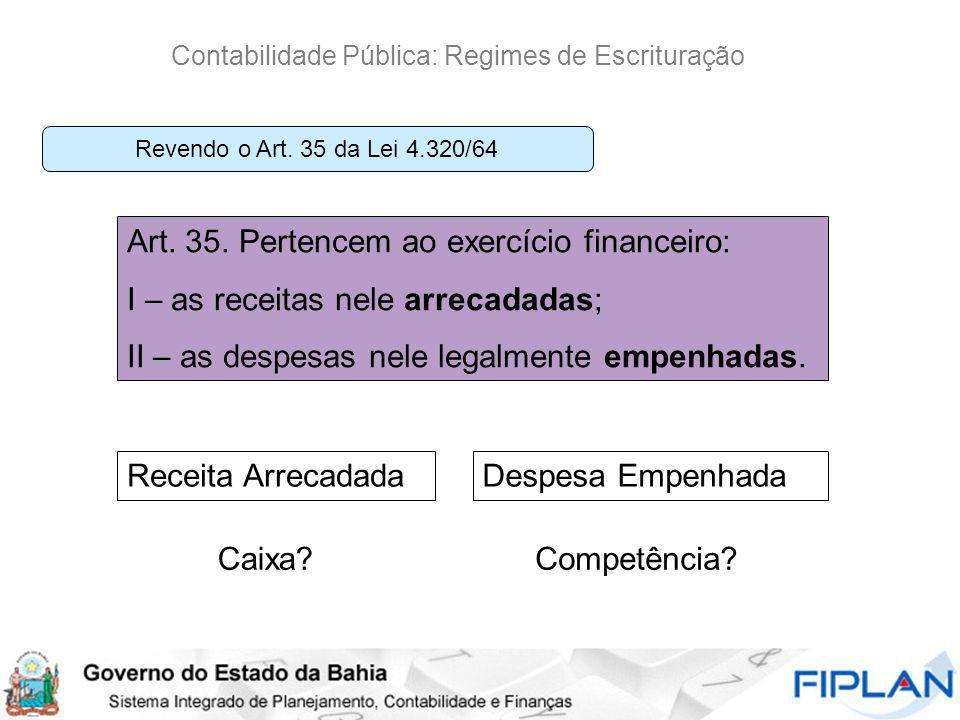 Contabilidade Pública: Regimes de Escrituração Art. 35. Pertencem ao exercício financeiro: I – as receitas nele arrecadadas; II – as despesas nele leg