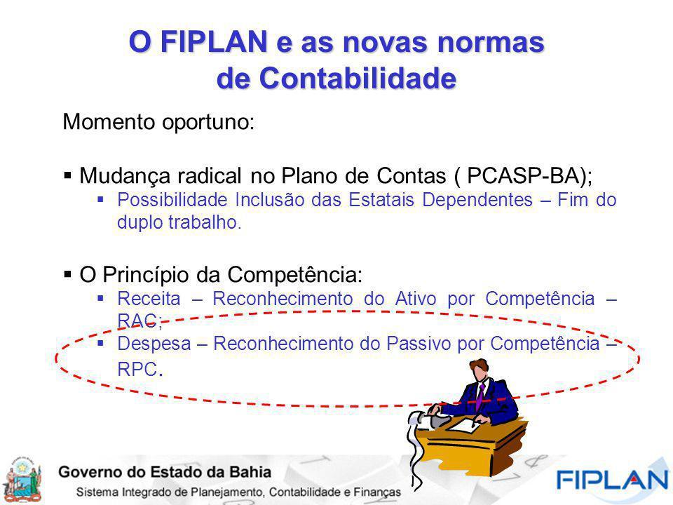 O FIPLAN e as novas normas de Contabilidade Momento oportuno: Mudança radical no Plano de Contas ( PCASP-BA); Possibilidade Inclusão das Estatais Depe