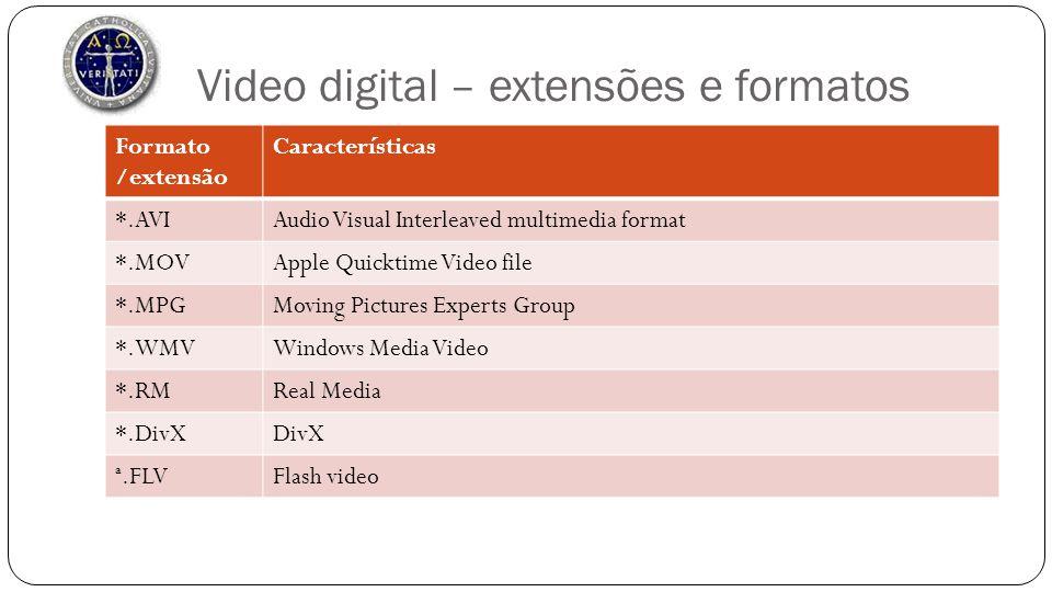 Video digital – extensões e formatos Formato /extensão Características *.AVIAudio Visual Interleaved multimedia format *.MOVApple Quicktime Video file