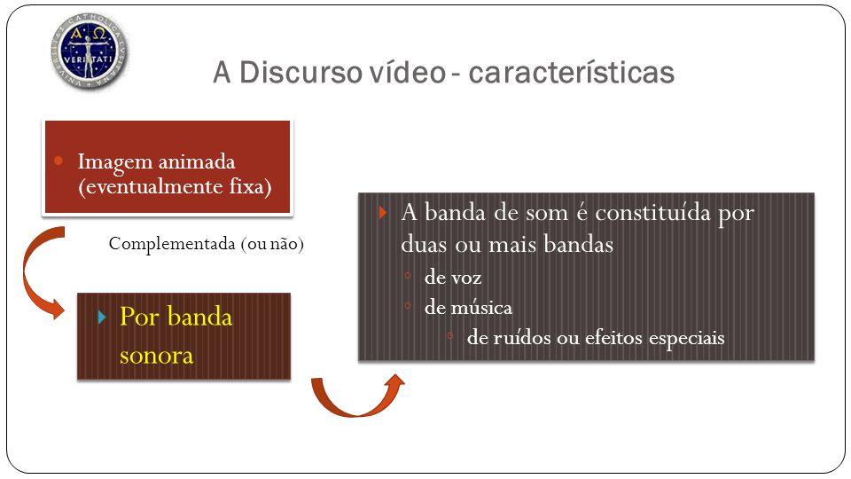 A Discurso vídeo - características Imagem animada (eventualmente fixa) Por banda sonora Complementada (ou não) A banda de som é constituída por duas o