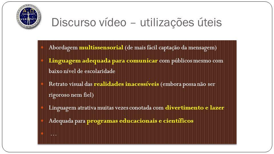 Discurso vídeo – utilizações úteis Abordagem multissensorial (de mais fácil captação da mensagem) Linguagem adequada para comunicar com públicos mesmo