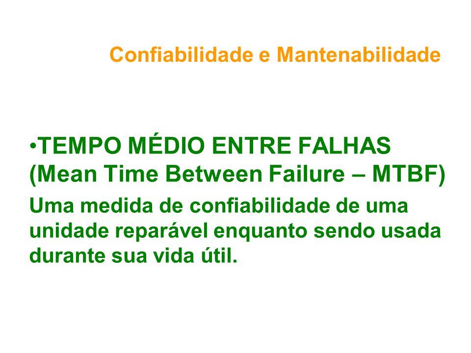 Confiabilidade e Mantenabilidade TEMPO MÉDIO ENTRE FALHAS (Mean Time Between Failure – MTBF) Uma medida de confiabilidade de uma unidade reparável enquanto sendo usada durante sua vida útil.
