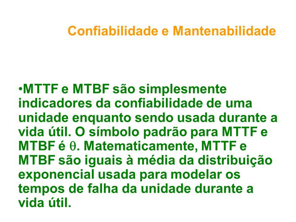 Confiabilidade e Mantenabilidade MTTF e MTBF são simplesmente indicadores da confiabilidade de uma unidade enquanto sendo usada durante a vida útil. O