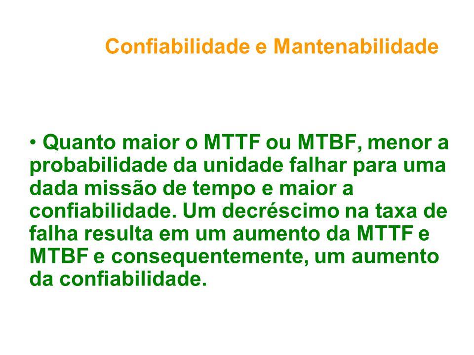 Confiabilidade e Mantenabilidade Quanto maior o MTTF ou MTBF, menor a probabilidade da unidade falhar para uma dada missão de tempo e maior a confiabilidade.
