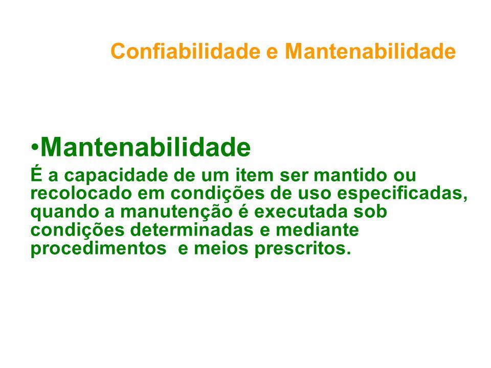 Confiabilidade e Mantenabilidade Mantenabilidade É a capacidade de um item ser mantido ou recolocado em condições de uso especificadas, quando a manutenção é executada sob condições determinadas e mediante procedimentos e meios prescritos.