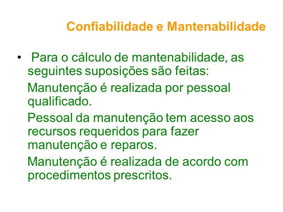 Confiabilidade e Mantenabilidade Para o cálculo de mantenabilidade, as seguintes suposições são feitas: Manutenção é realizada por pessoal qualificado