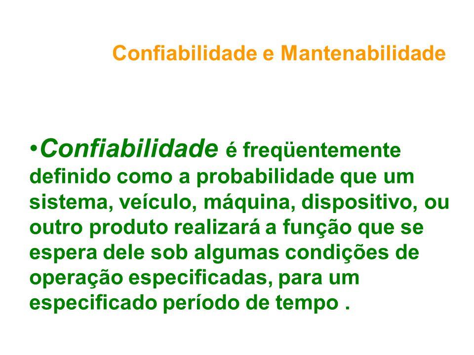 Confiabilidade e Mantenabilidade Confiabilidade é freqüentemente definido como a probabilidade que um sistema, veículo, máquina, dispositivo, ou outro