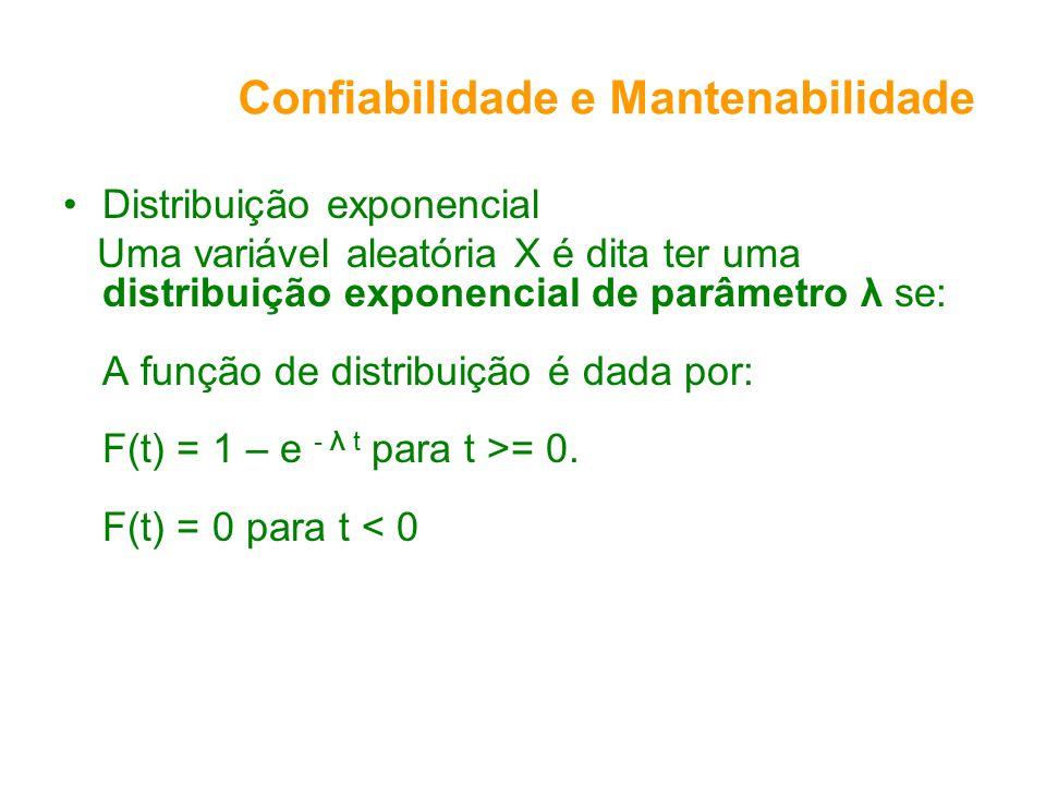 Confiabilidade e Mantenabilidade Distribuição exponencial Uma variável aleatória X é dita ter uma distribuição exponencial de parâmetro λ se: A função de distribuição é dada por: F(t) = 1 – e - λ t para t >= 0.