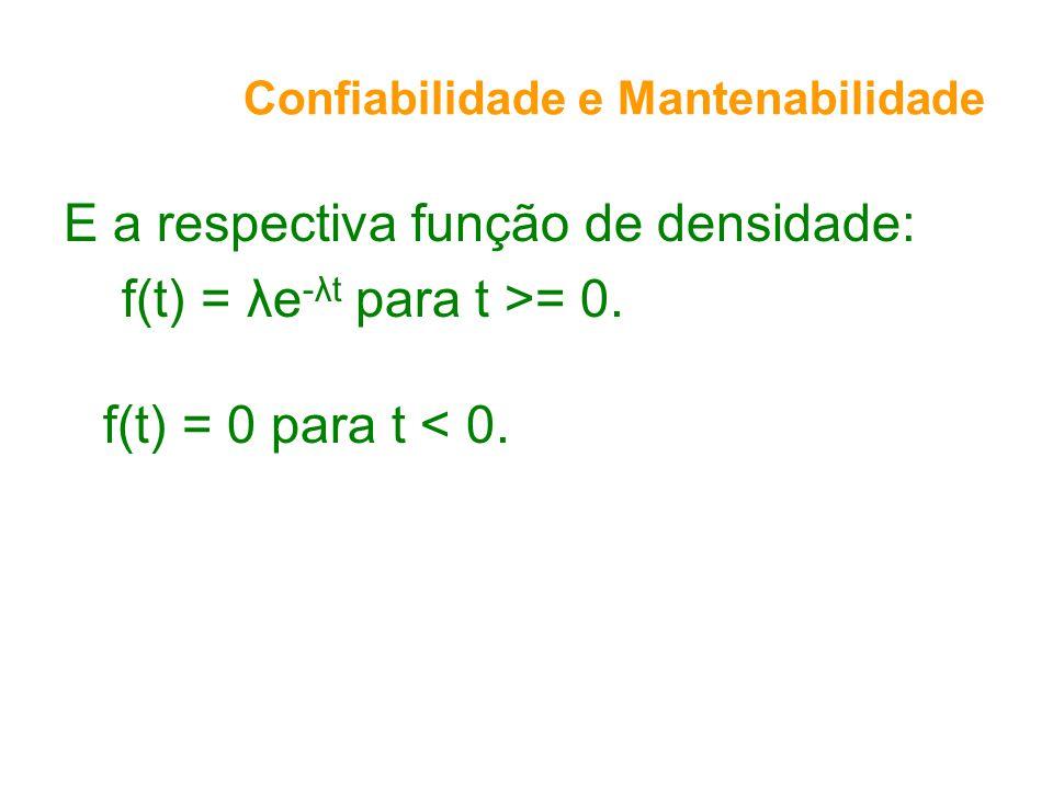 E a respectiva função de densidade: f(t) = λe -λt para t >= 0. f(t) = 0 para t < 0.