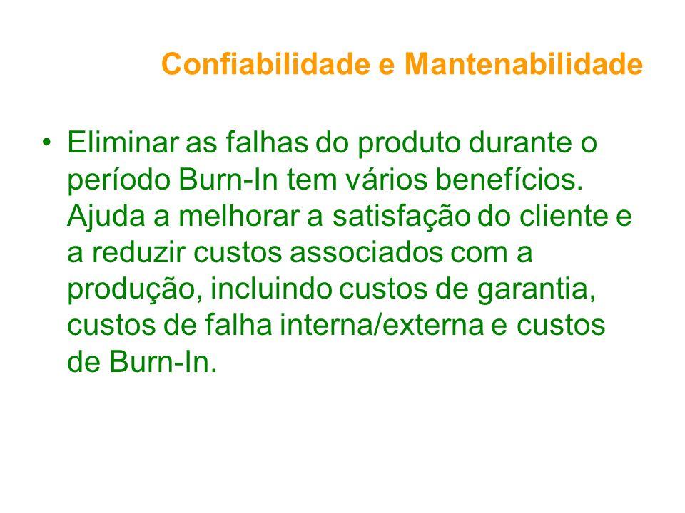 Confiabilidade e Mantenabilidade Eliminar as falhas do produto durante o período Burn-In tem vários benefícios. Ajuda a melhorar a satisfação do clien
