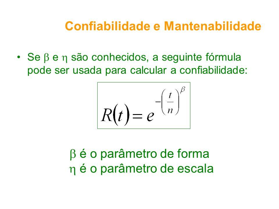 Confiabilidade e Mantenabilidade Se e são conhecidos, a seguinte fórmula pode ser usada para calcular a confiabilidade: é o parâmetro de forma é o par