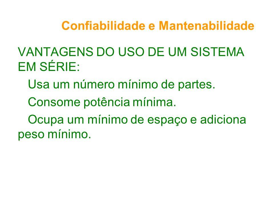 Confiabilidade e Mantenabilidade VANTAGENS DO USO DE UM SISTEMA EM SÉRIE: Usa um número mínimo de partes.