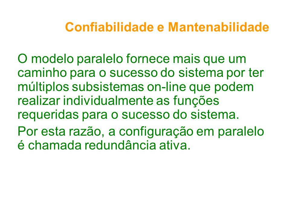Confiabilidade e Mantenabilidade O modelo paralelo fornece mais que um caminho para o sucesso do sistema por ter múltiplos subsistemas on-line que podem realizar individualmente as funções requeridas para o sucesso do sistema.