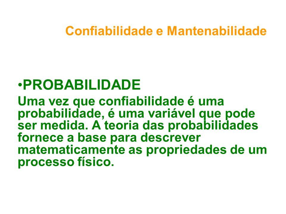Confiabilidade e Mantenabilidade PROBABILIDADE Uma vez que confiabilidade é uma probabilidade, é uma variável que pode ser medida.