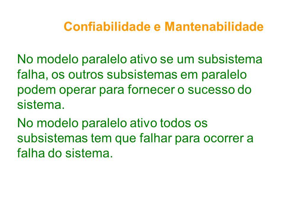 Confiabilidade e Mantenabilidade No modelo paralelo ativo se um subsistema falha, os outros subsistemas em paralelo podem operar para fornecer o sucesso do sistema.