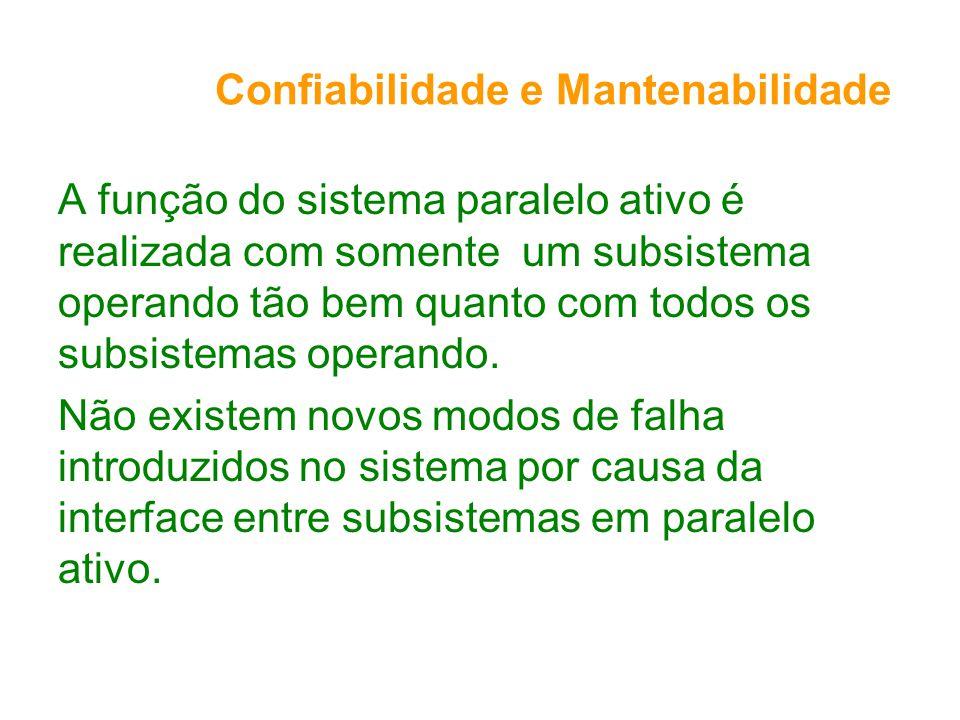 Confiabilidade e Mantenabilidade A função do sistema paralelo ativo é realizada com somente um subsistema operando tão bem quanto com todos os subsistemas operando.