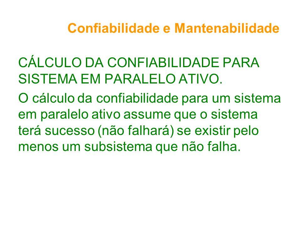 Confiabilidade e Mantenabilidade CÁLCULO DA CONFIABILIDADE PARA SISTEMA EM PARALELO ATIVO. O cálculo da confiabilidade para um sistema em paralelo ati