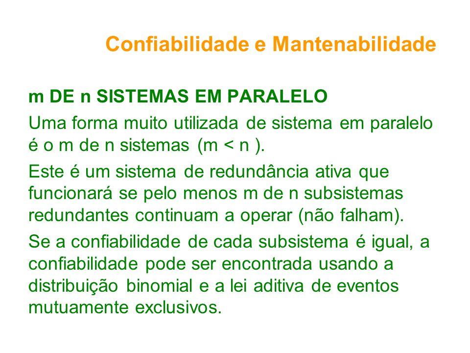 Confiabilidade e Mantenabilidade m DE n SISTEMAS EM PARALELO Uma forma muito utilizada de sistema em paralelo é o m de n sistemas (m < n ). Este é um