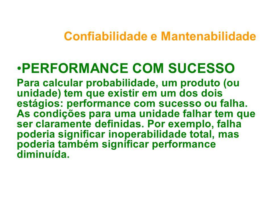 Confiabilidade e Mantenabilidade PERFORMANCE COM SUCESSO Para calcular probabilidade, um produto (ou unidade) tem que existir em um dos dois estágios: performance com sucesso ou falha.