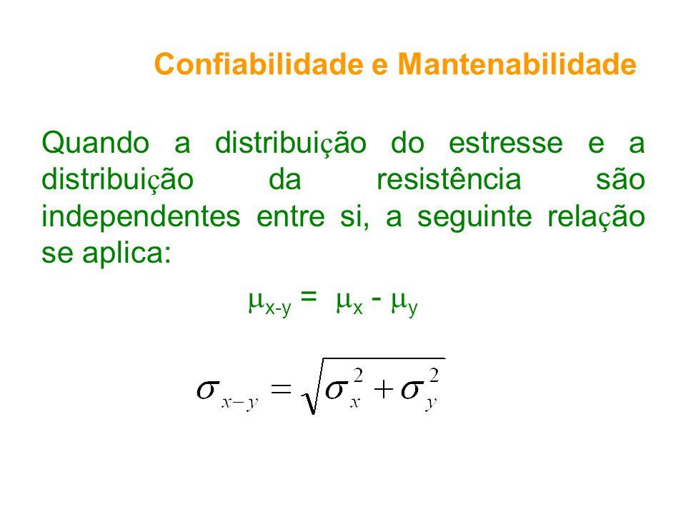 Quando a distribui ç ão do estresse e a distribui ç ão da resistência são independentes entre si, a seguinte rela ç ão se aplica: x-y = x - y