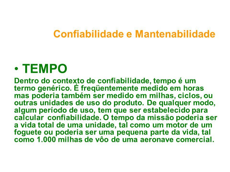 Confiabilidade e Mantenabilidade TEMPO Dentro do contexto de confiabilidade, tempo é um termo genérico.