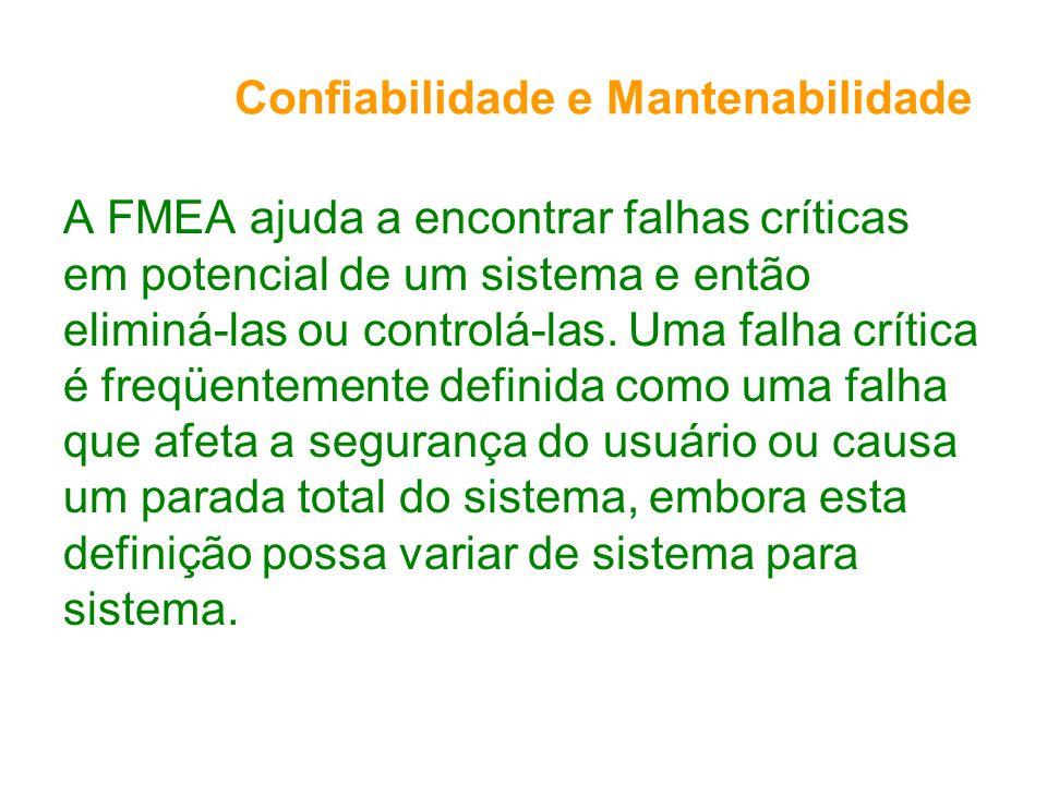 Confiabilidade e Mantenabilidade A FMEA ajuda a encontrar falhas críticas em potencial de um sistema e então eliminá-las ou controlá-las.