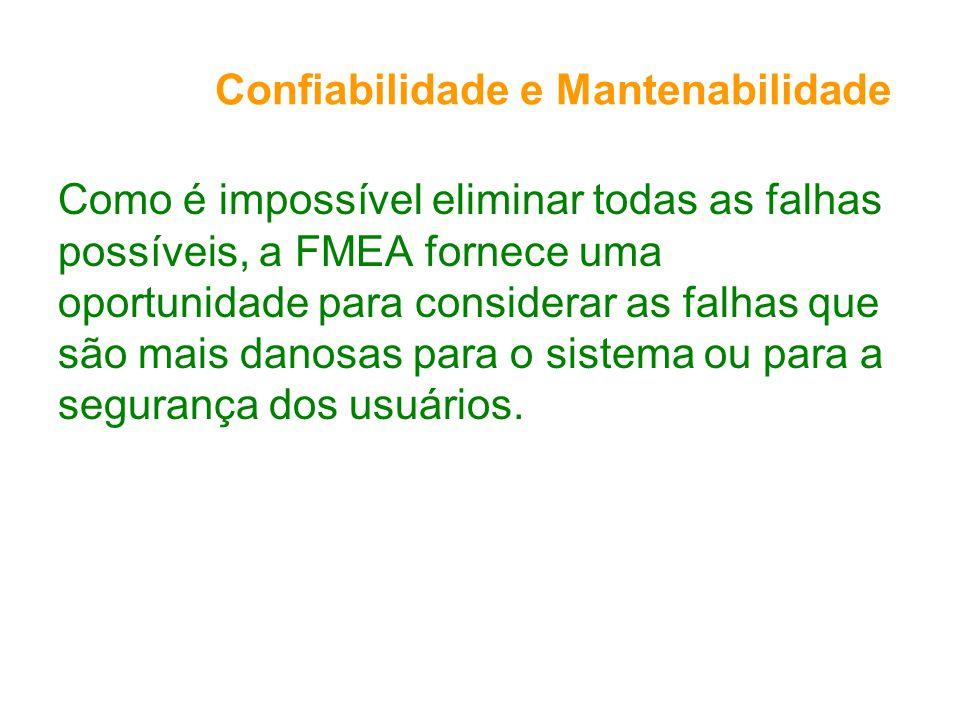 Confiabilidade e Mantenabilidade Como é impossível eliminar todas as falhas possíveis, a FMEA fornece uma oportunidade para considerar as falhas que são mais danosas para o sistema ou para a segurança dos usuários.