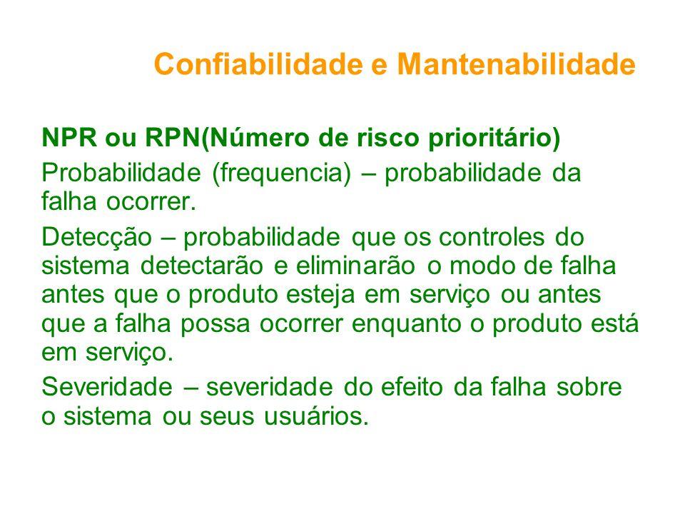 Confiabilidade e Mantenabilidade NPR ou RPN(Número de risco prioritário) Probabilidade (frequencia) – probabilidade da falha ocorrer. Detecção – proba