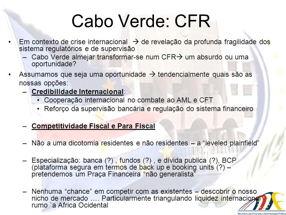 Em contexto de crise internacional de revelação da profunda fragilidade dos sistema regulatórios e de supervisão –Cabo Verde almejar transformar-se nu