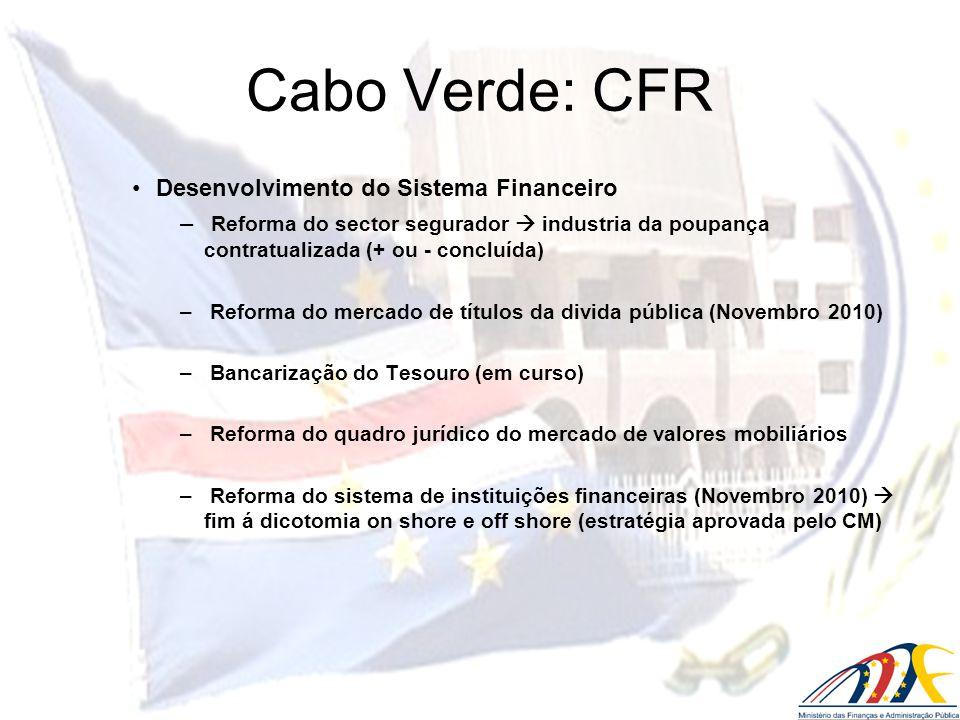 Desenvolvimento do Sistema Financeiro – Reforma do sector segurador industria da poupança contratualizada (+ ou - concluída) – Reforma do mercado de t