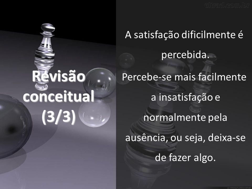Revisão conceitual (3/3) A satisfação dificilmente é percebida.