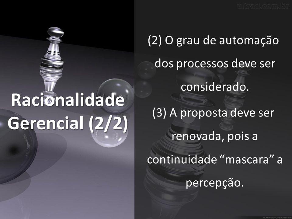 Racionalidade Gerencial (2/2) (2) O grau de automação dos processos deve ser considerado.