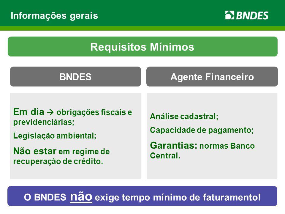 Máquinas e equipamentos novos, de fabricação nacional e listados no CFI (Credenciamento de Fabricantes Informatizado – BNDES); Capital de giro associado ao investimento fixo.