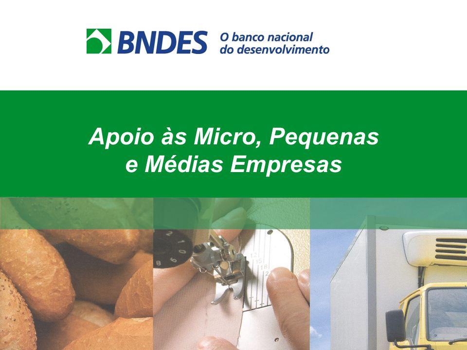 Formas de apoio do BNDES Projetos de Investimento BNDES Automático Máquinas e Equipamentos BNDES Finame Cartão BNDES Máquinas / Equip + Insumos e Serviços Capital de Giro BNDES Progeren