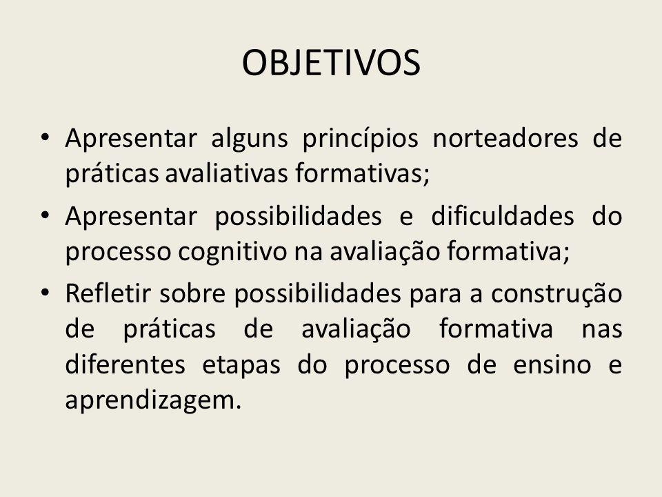 OBJETIVOS Apresentar alguns princípios norteadores de práticas avaliativas formativas; Apresentar possibilidades e dificuldades do processo cognitivo