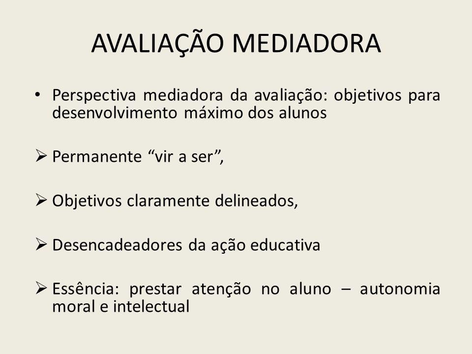AVALIAÇÃO MEDIADORA Perspectiva mediadora da avaliação: objetivos para desenvolvimento máximo dos alunos Permanente vir a ser, Objetivos claramente de