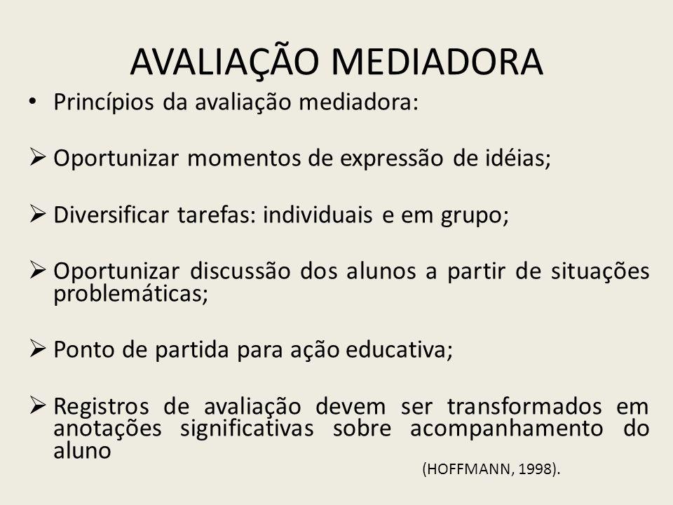 AVALIAÇÃO MEDIADORA Princípios da avaliação mediadora: Oportunizar momentos de expressão de idéias; Diversificar tarefas: individuais e em grupo; Opor