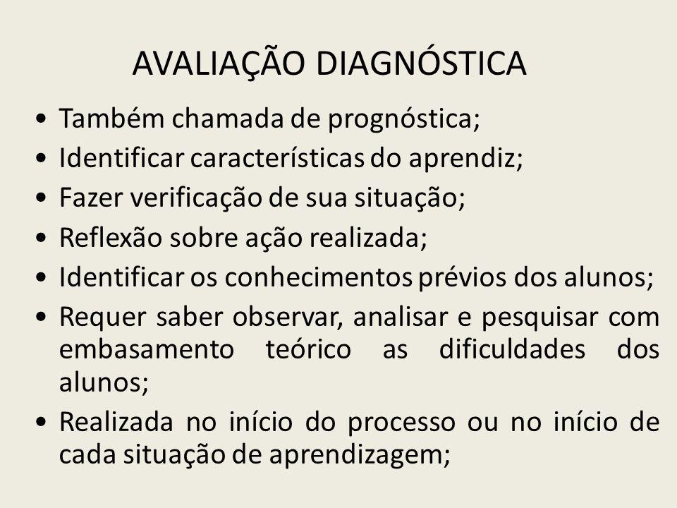 AVALIAÇÃO DIAGNÓSTICA Também chamada de prognóstica; Identificar características do aprendiz; Fazer verificação de sua situação; Reflexão sobre ação r