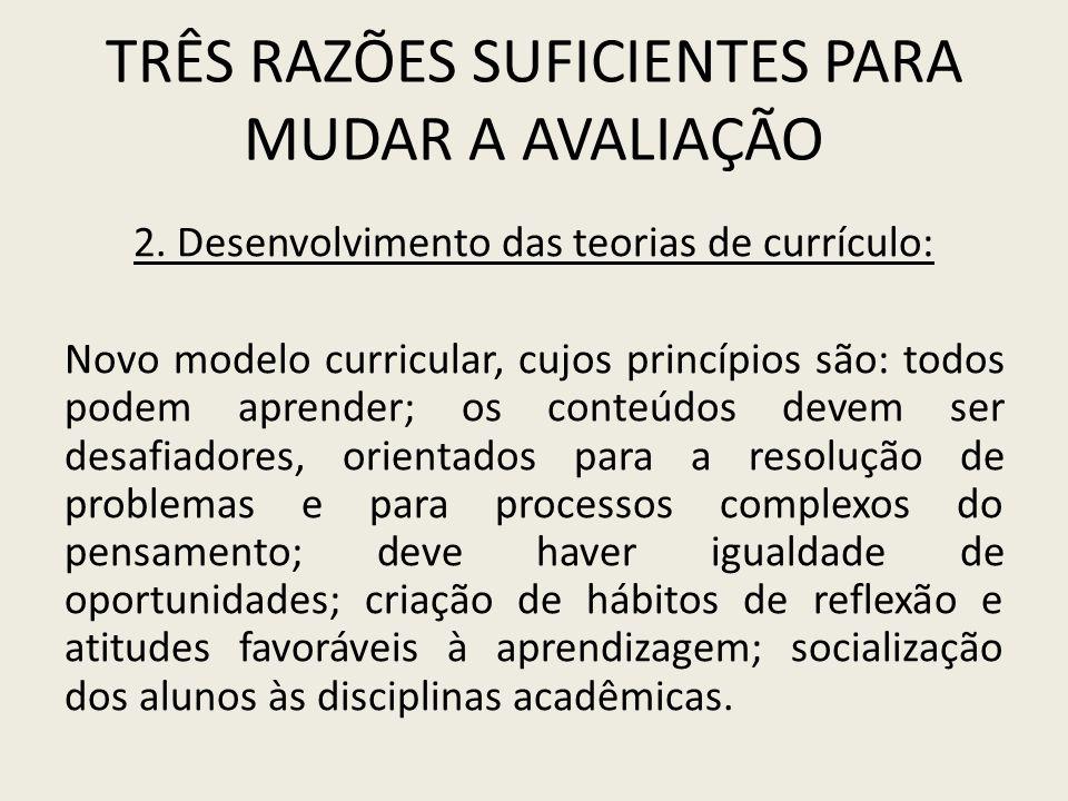 TRÊS RAZÕES SUFICIENTES PARA MUDAR A AVALIAÇÃO 2. Desenvolvimento das teorias de currículo: Novo modelo curricular, cujos princípios são: todos podem