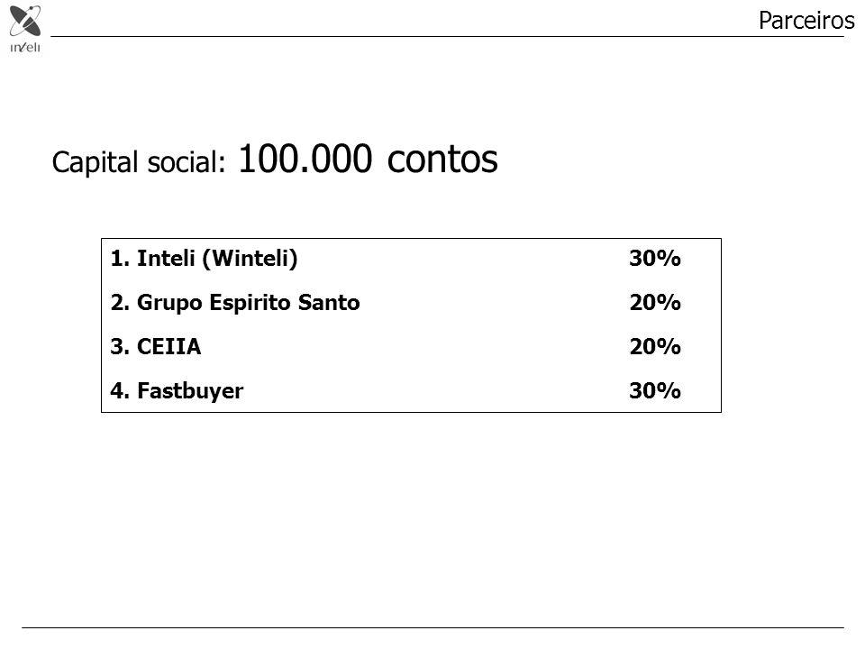 Parceiros 1. Inteli (Winteli)30% 2. Grupo Espirito Santo20% 3. CEIIA20% 4. Fastbuyer30% Capital social: 100.000 contos