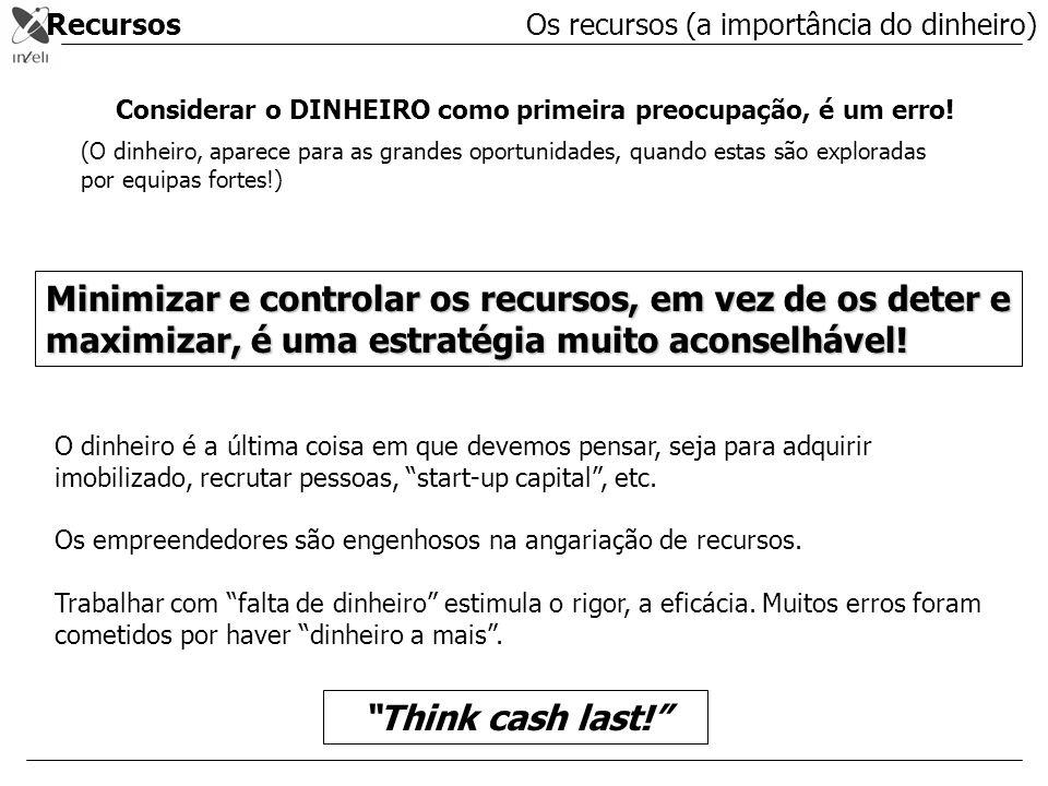 Recursos Considerar o DINHEIRO como primeira preocupação, é um erro! (O dinheiro, aparece para as grandes oportunidades, quando estas são exploradas p