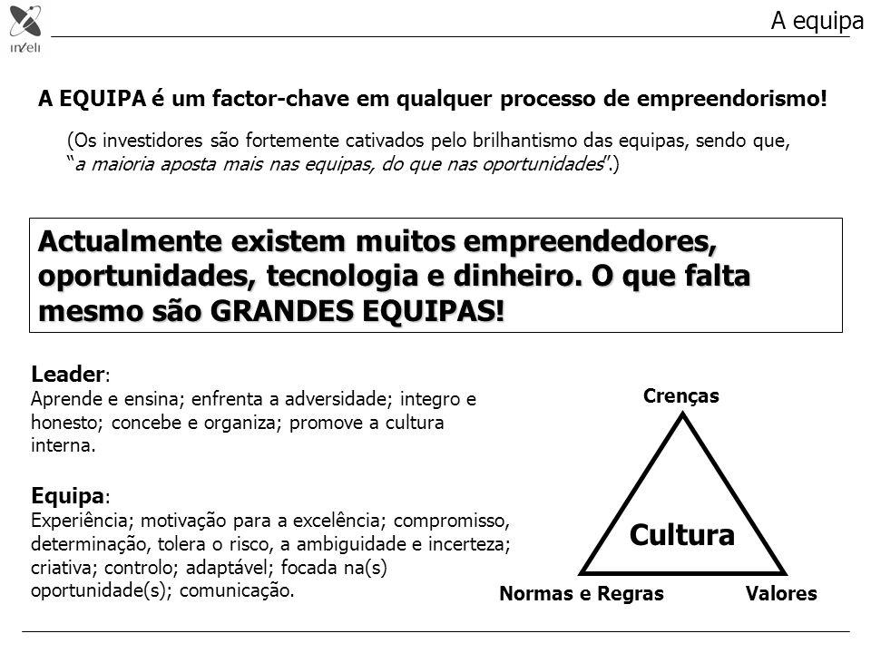A equipa A EQUIPA é um factor-chave em qualquer processo de empreendorismo! (Os investidores são fortemente cativados pelo brilhantismo das equipas, s
