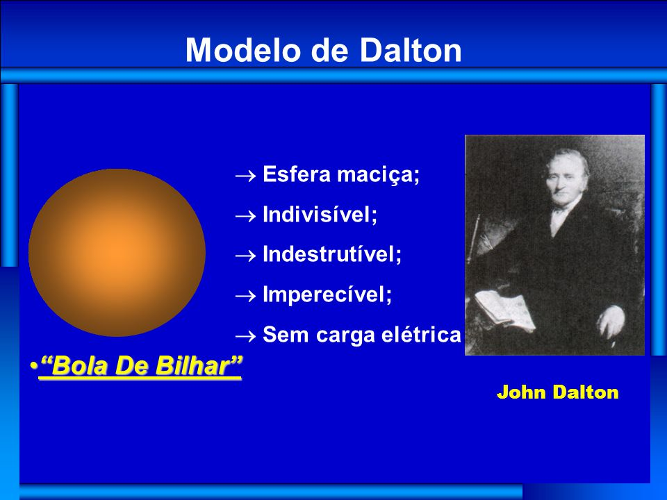Esfera maciça; Indivisível; Indestrutível; Imperecível; Sem carga elétrica ; Modelo de Dalton Bola De BilharBola De Bilhar John Dalton