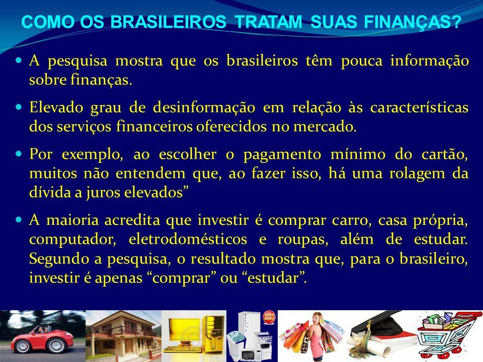A pesquisa mostra que os brasileiros têm pouca informação sobre finanças. Elevado grau de desinformação em relação às características dos serviços fin