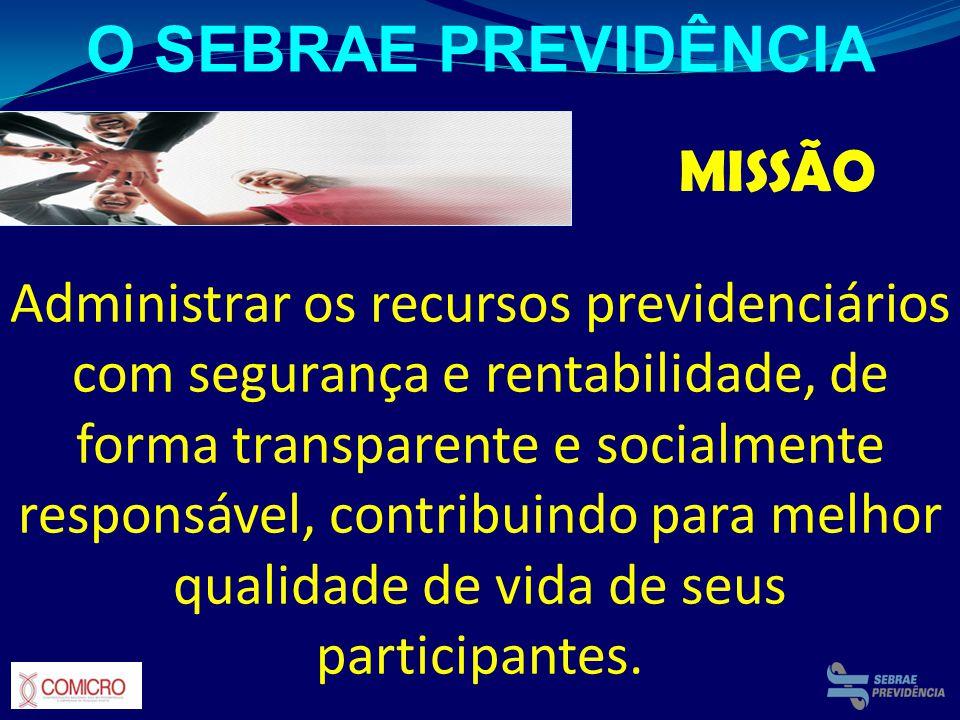 MISSÃO Administrar os recursos previdenciários com segurança e rentabilidade, de forma transparente e socialmente responsável, contribuindo para melho