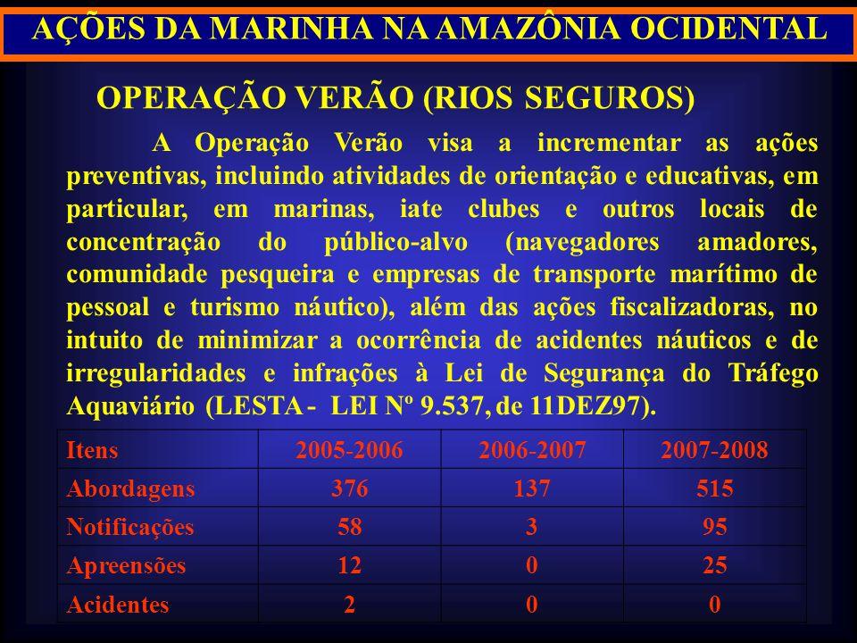 AÇÕES DA MARINHA NA AMAZÔNIA OCIDENTAL OPERAÇÃO VERÃO (RIOS SEGUROS) A Operação Verão visa a incrementar as ações preventivas, incluindo atividades de