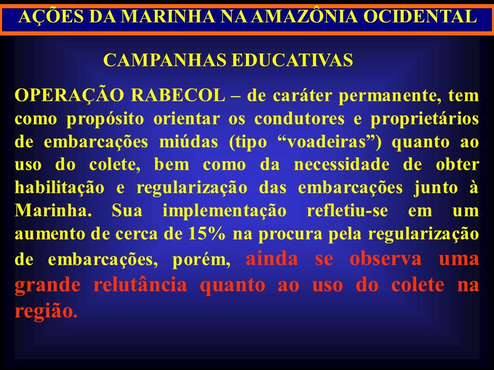 AÇÕES DA MARINHA NA AMAZÔNIA OCIDENTAL CAMPANHAS EDUCATIVAS OPERAÇÃO RABECOL – de caráter permanente, tem como propósito orientar os condutores e prop